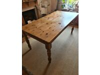 Family six seat Victorian farmhouse style pine dining table