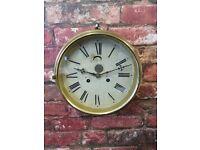 VINTAGE Antique Brass Metal Clockwork Wall Clock with Key