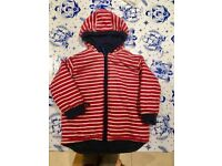 Mamas and Papas Navy Blue/Red Striped Reversable Fleece-line Coat - Size 5-6 yrs
