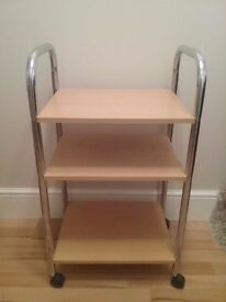 SHELVES ON TROLLEY WITH WHEELS GAMES CONSOLE TROLLEY KITCHEN TROLLEY
