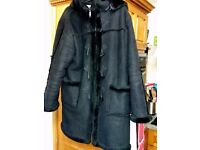 L 16 black Fake sheepskin duffle coat detach hood pockets super warm zip winter Paulton Stapleton