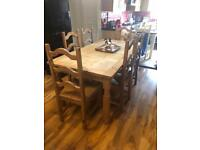 Solid wood farmhouse table 6 chairs