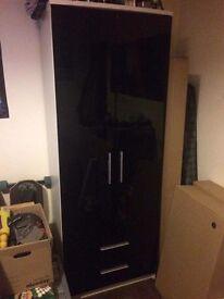 Black gloss 2 door 2 drawer wardrobe