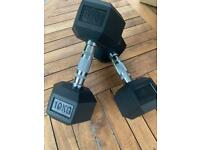 Dumbbell Bundle 5kg pair and 10kg pair Hex rubber coated weights £70 - New boxed