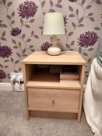 Two bedside Chest with beech effect. Only one year in use.