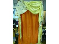 Pair of Mickey Mouse and Disney Babies Burnt Orange and Lemon Curtains With Swag and Tails