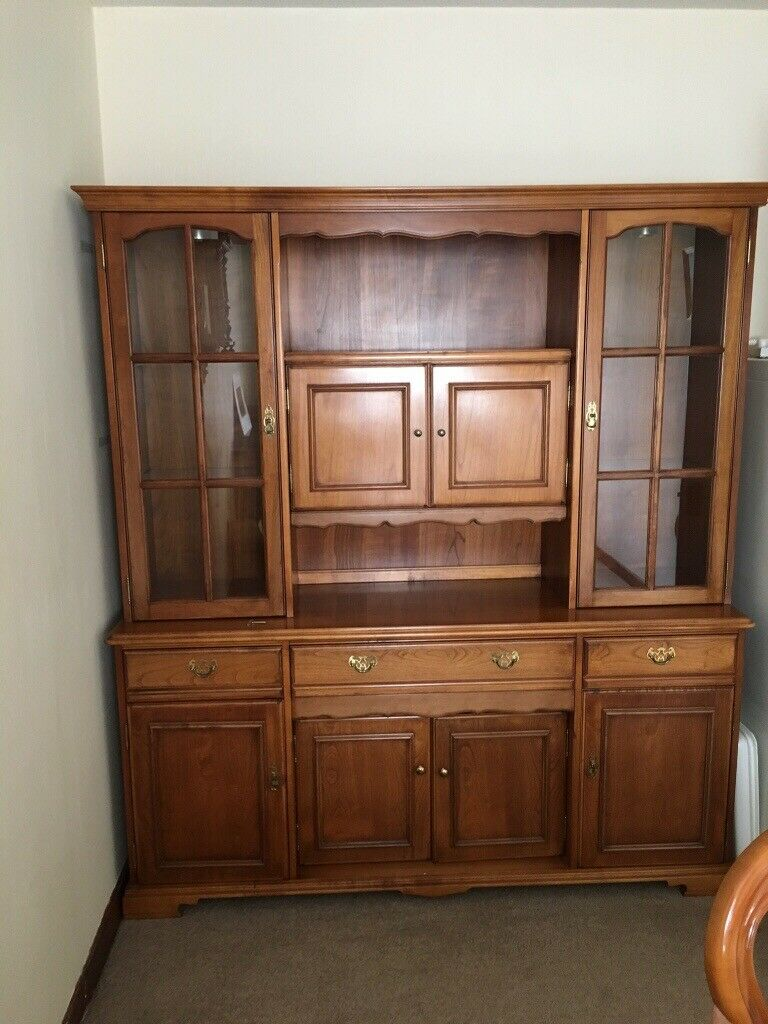 Dining Tablefour Chairs And Two Carversalso Matching Display Cabinet