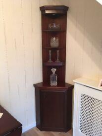 Mahogany Corner Cabinet/Shelves