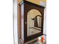 Bathroom Cabinet wood Mahogany mirror with matching basin mirror FAB CONDITION
