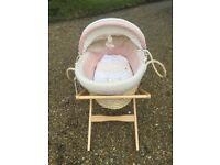 Mamas & Papas moses basket & Britax Iso Fix car seat in cow print