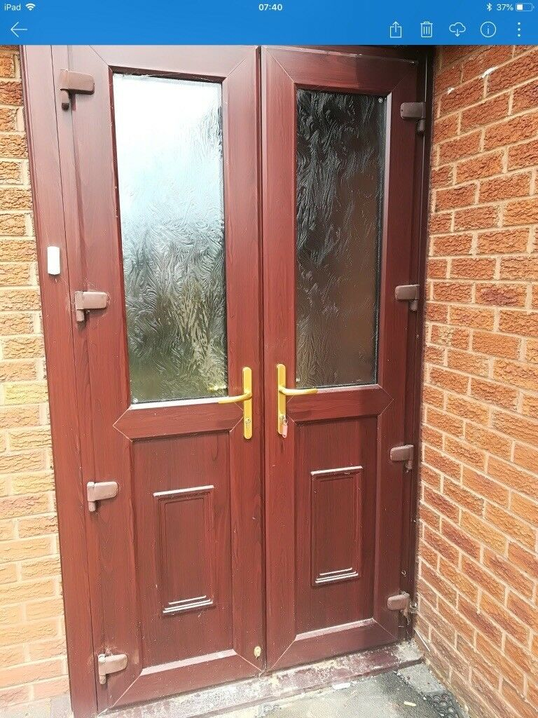 Strong External Double Doors With Frame And Keys Upvc And