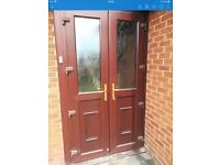 Strong External double doors with frame and keys. Upvc and glass. Buyer must remove.