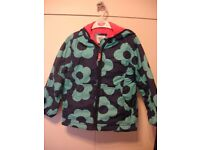 Girls Mini Boden Fleece Lined Anorak Coat Blue Flowers Age 7 - 8