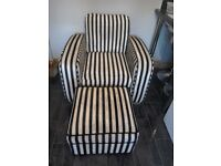**Reduced** Large black/beige, stripped arm-chair & foot-stool