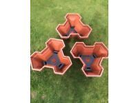 3 X flower pots