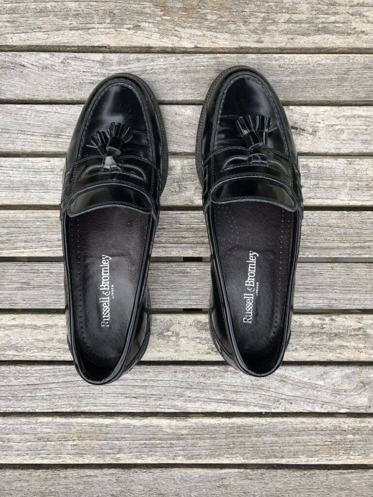 59ae8255 Russell & Bromley Keeble Tassel Loafers Black Patent Leather [Size 9.5  (43.5) - FIT LARGE]