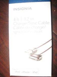Insignia 4 ft. 30-Pin Charge / Sync Cable. Charger for Iphone 4 / 4S. Ipad. Apple MFi Certified. NEW