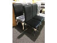 Six brand new chrome -black velour chairs