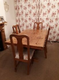 Solid wood dining room table & 4 chairs - 1600mm x 1000mm x 750mm
