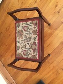 Maghony Piano Stall with a soft tapestry top Victorian