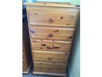 Pine Tallboy - 5 drawers