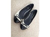 Ladies size 4 Cream and black flat shoes. Ballet pumps style. V good condition