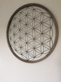 Round Wood and Wire Wall Art