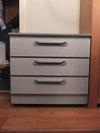 Up-cycled grey and silver drawer unit