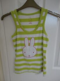 Miffy Girls Vest top green and white stripes age 14 tight fitting worn condition 50p