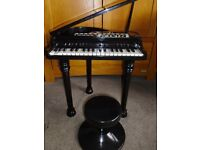 BLACK BABY GRAND CHILDRENS ELECTRIC PIANO WITH STOOL - COLLECT COWBRIDGE