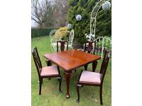 Antique Extendable Wind Out Table & 4 Chairs