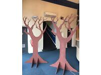 Theatre props - 2x wooden trees, 1x lamppost