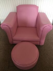 Pink rocking chair with footstool