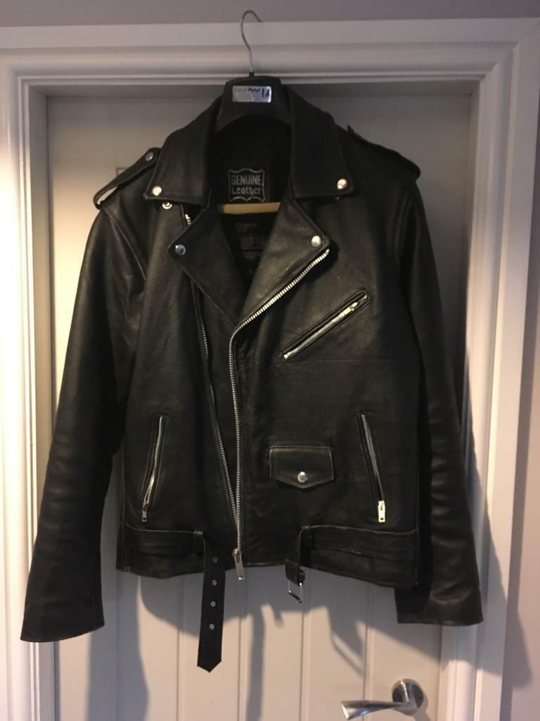 Leather biker jacket medium