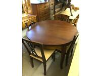 Solid mahogany round dining table & 4 Chairs