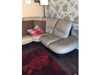 4 seater DFS cream and brown leather corner sofa