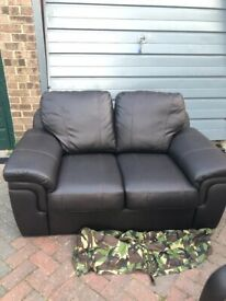 Faux Leather two seater settee & chair