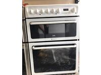 Hotpoint creda ceramic cooker white colour double oven with fan very good condition for sale