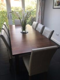 Extendable Walnut Dining Table and 8 Chairs - Cream Colour