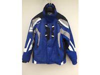 MEN'S SPYDER SKI JACKET Size 38 Bright Blue, Black, White & Grey. Detachable Hood & Sleeves. In VGC