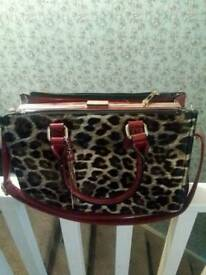 Leopard print large clutch bag