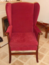 ARMCHAIR, WINGBACK, RED CLOTH, HIGH SEAT 6 YRS OLD