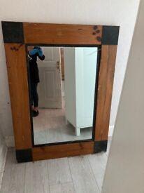 Large solid pine and black metal mirror