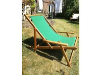 hardwood deck chairs with arms in green canvas 4 new 4 used