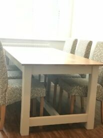 Beech shabby chic/farmhouse style 6 dining table and chairs