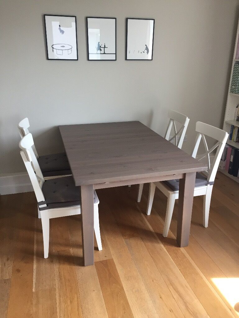 ikea stornas extendable table in grey brown stain and 4 white chairs in london gumtree. Black Bedroom Furniture Sets. Home Design Ideas