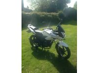 White 2013 Honda CBF 125 with stainless exhaust - great condition and low miles