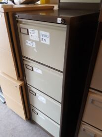 Roneo Metal 4 drawer lockable filing cabinet ,with Key with 20 hanging files