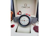 New Mens boxed silver strap white face omega speedmaster MK II perfect for valentines day with chron