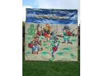 Velcro practice backdrop game + throwing items School fete Fund raising Country themed event